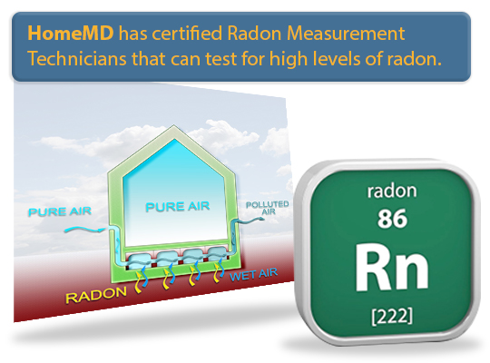 HomeMD has certified Radon Measurement Technicians that can test for high levels of radon gas.