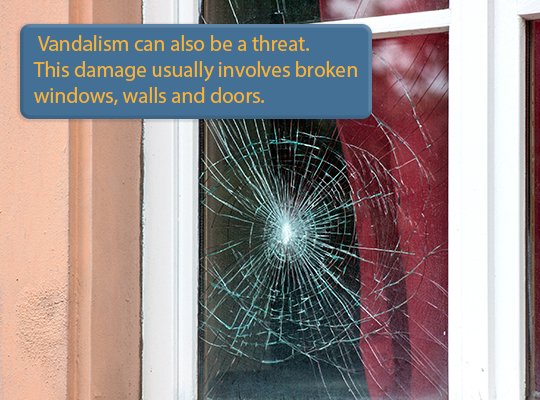 Vandalism can also be a threat. This damage usually involves broken windows, walls, & doors.